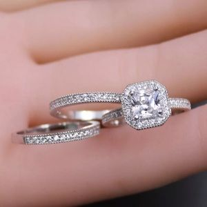 Jewelry - 3 RINGS - Silver Princess Cut Engagement & Wedding